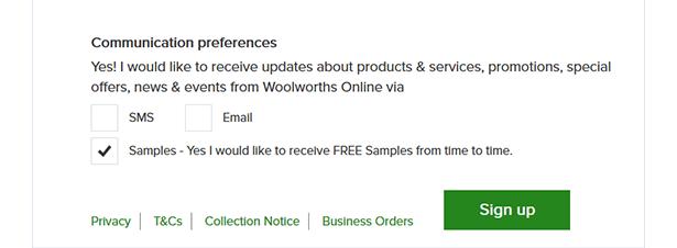 A great example of granular consent by Woolworth's Australia